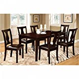 7Pc Dining Table Set, Chair With Pu Cushion, Expresso Finish