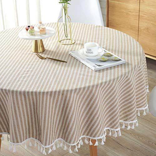 Lahome Stripe Tassel Tablecloth – Cotton Linen Table Cover Kitchen Dining Room Restaurant Party Decoration (Round – 60″, Beige)