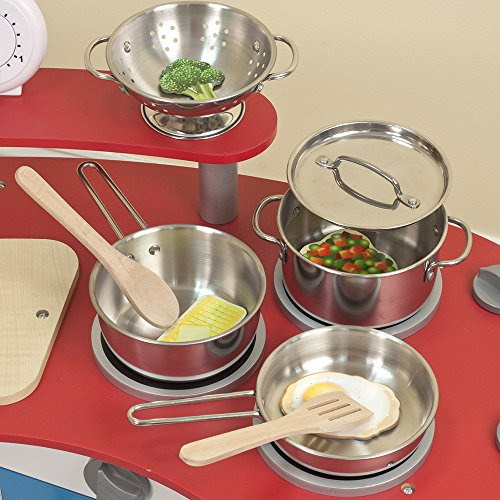 51QCOObfSrL - Melissa & Doug Stainless Steel Pots and Pans Pretend Play Kitchen Set for Kids (8 pcs)