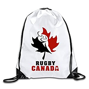 Runy Custom Canada Rugby Logo Adjustable String Gym Backpack Travel Bag White