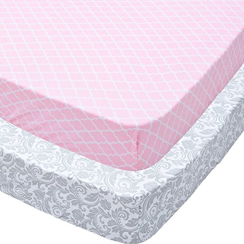 Cheap Playard Sheets, 2 Pack Pink Quatrefoil & Gray Floral Fitted Soft Jersey Cotton