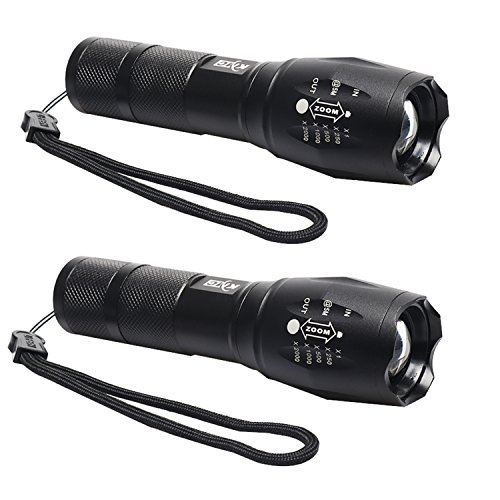 KMC Portable LED Flashlight 5 Mode Lumen Lamp Light, Adjustable Focus, Great for Camping/Hiking/Power Outages(2-pack)