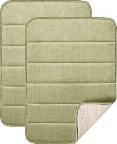 Magnificent 17 X 24 inch Memory Foam Bath Mat, Soft, Non-slip, High Absorbency - 2 Pack (Sage ()