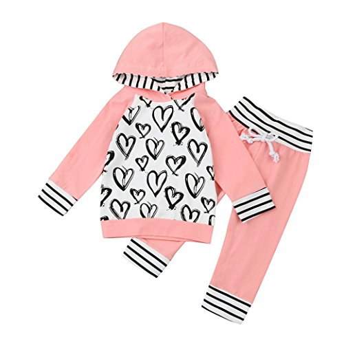 Toraway 2Pcs Set Toddler Infant Baby Girls Boys Heart Print Clothes Set Hooded Blouse Tops+Pants Outfits (0-6 Month, Pink) (Cute Outfits Cheap)