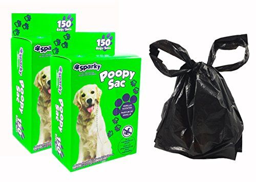 300-Count Dog Poop Bags - Large Bags with Handles (Not on Roll), Leak-Proof, Vanilla Scented, Textured Surface for Easy Handling - By Sparky