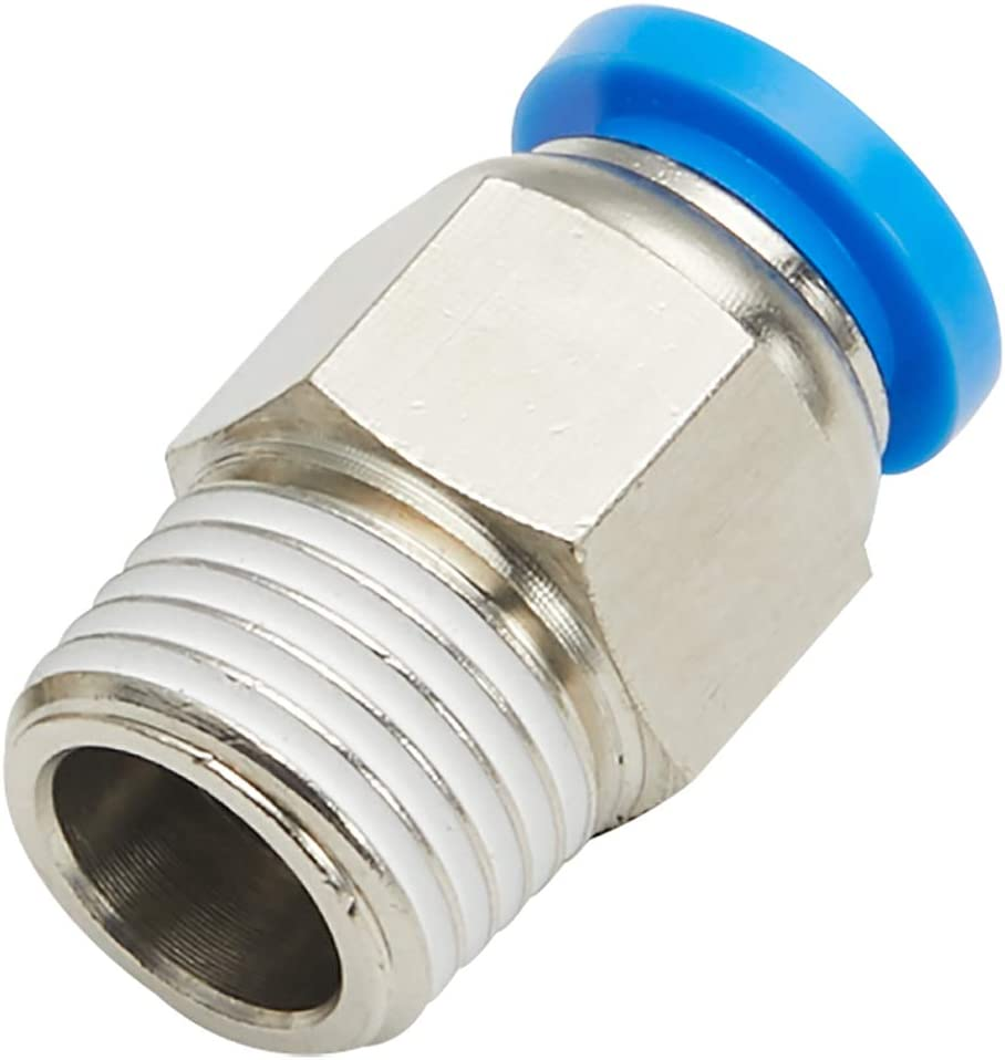 PC-06-04 5 Pack 3//8 Tube OD x 1//4 NPT Thread Male Straight Connector Push to Connect Pneumatic Tube Fitting