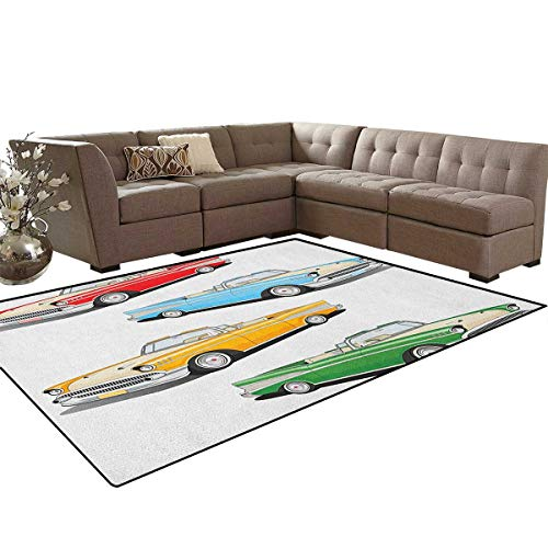 (Manly,Floor Mat,Collection of Four Classic Car Roadsters Old Fashioned Transportation Illustration,Soft Area Rugs,Multicolor Size:6'6