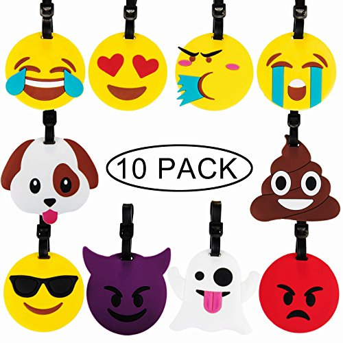 Travel Luggage Tags,10 pack Emoji Suitcase Travel ID Label Tags Holders For Luggage Travel Gears Gifts Identifier Tags
