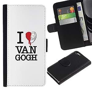 """Apple iPhone 5 / iPhone 5S , la tarjeta de Crédito Slots PU Funda de cuero Monedero caso cubierta de piel ("""" Van Gogh Art Quote Ear Red Blood Painting"""")"""