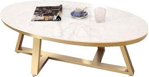 Dxjni White Marble Coffee Table Oval Tea Table Gold Geometric