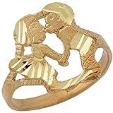 10k Yellow Gold Cute Adorable Trendy Love Couple Kissing Ladies Diamond Cut Ring
