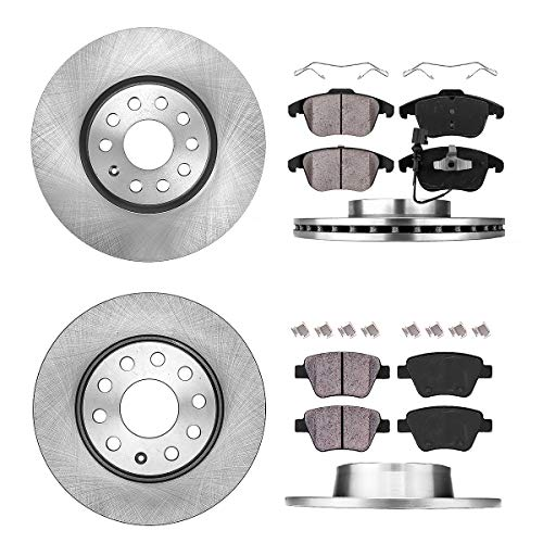 FRONT 312 mm + REAR 272 mm Premium OE 5 Lug [4] Rotors + [8] Quiet Low Dust Ceramic Brake Pads + Hardware