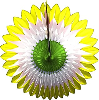 product image for 3-Pack 20 Inch Tissue Paper Flower Fan Decoration (Spring - Yellow/White/Green)