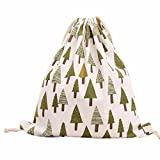 Outsta Canvas Pouch Bag,Merry Christmas Tree Beam Port Fashion Tree Drawstring Hanging Sack Sport Beach Travel Outdoor Backpack Classic Basic Casual Daypack Shopping Bag Travel (Green)