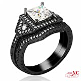 AYT Vintage Lady's Wedding Finger Rings 2 pcs Fine Jewelry White Sapphire AAA Zircon Black Gold Filled Ring Bijoux Hot New 7.0