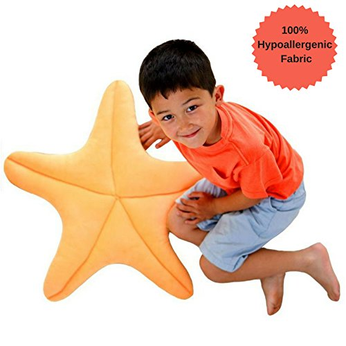 Starfish Pillow for use as Floor Pillow or Accent Pillow in Peach Color - Soft and Cozy for a Little Mermaid's Bedroom or Beach House Decor