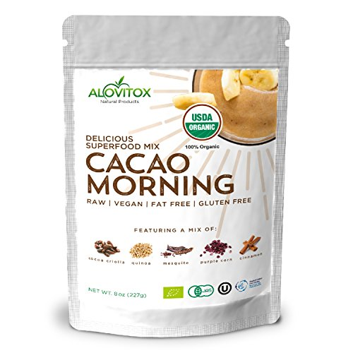 Cacao Quinoa Mesquite Cinnamon Powder -Delicious Smoothie Superfoods Energy Mix -Certified Organic by Alovitox- Zero Sugar Vegan Gluten Free 8oz Pouch