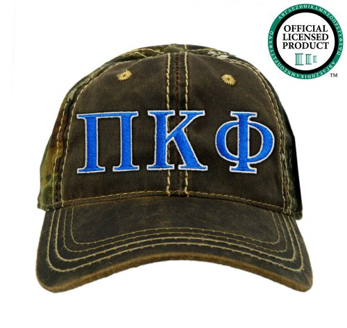 Pi Kappa Phi (Pi Kapp) Embroidered Camo Baseball Hat, Various Colors