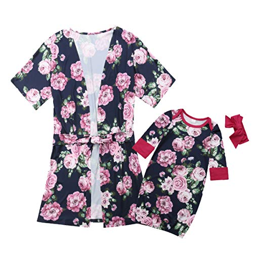 Mother and Daughter Family Matching Pajamas Floral Nightgowns Cotton Kimono Short Robes Sleepwear (Baby, 3-6 Months) Navy Blue ()