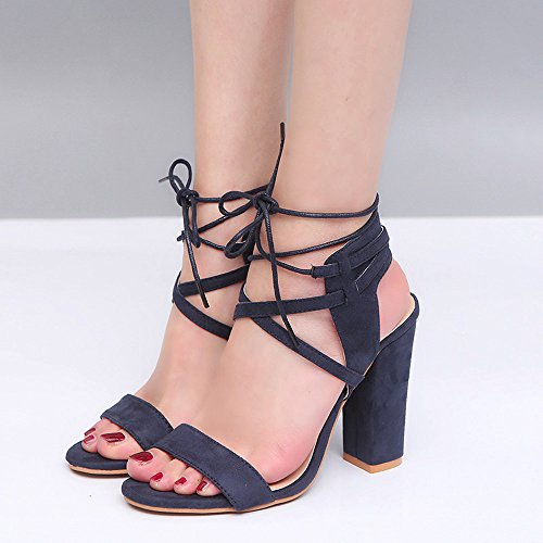 Fashion Womens Ladies Girl Round Toe Block High Heel Sandals Platforms Bandage Shoes Buckle Large Size Strappy High Heels Super High (8cm-up) Blue Amy Green Beige Summer Blue z91I1i