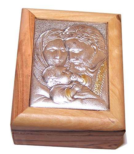 - First Communion Box - Rosary Box - Bethlehem Olive Wood (Metal - Holy Family)