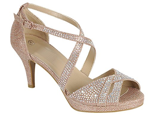 Cambridge Utvalda Womens Peep Toe Kors Och Tvärs Fotled Strappy Glitter Kristall Strass Mitten Hälen Sandal Ökade Guld