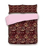 Eastern King Vs King Pink Duvet Cover Set,King Size,Middle Eastern Culture Stylized Pattern Tribual Artwork Bohemian,Decorative 3 Piece Bedding Set with 2 Pillow Sham,Best Gift For Girls Women,Chestnut Brown Mustard Teal