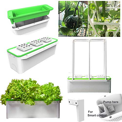Big Smart Indoor Hydroponic Planter 7L for Big Climbing Vegetables Like Tomato Cucumber with Built-in Pump and Smart Reminder Come with 150cm Climbing Trellis Super hydroponic Growing system