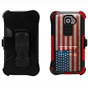Bloutina Beyond Cell Tri-Shield Kombo Case & Holster Belt Clip Combo for LG G2 D801/VS980 (At&t, Verizon) - Design American...