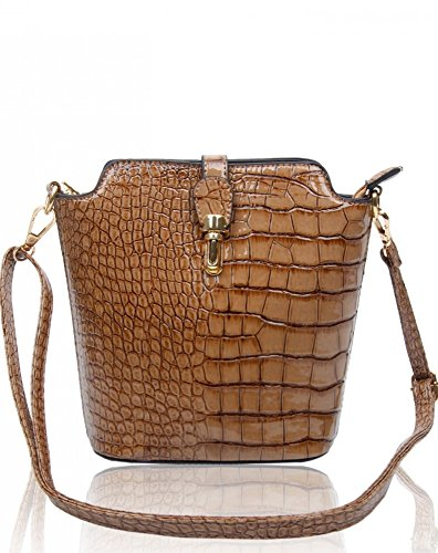 Body Ladies Cross Bag LeahWard Across Chic Size Skin C Handbags Faux Body Women's Plain flax Crocodile Small 160402 wOWFFpEqU