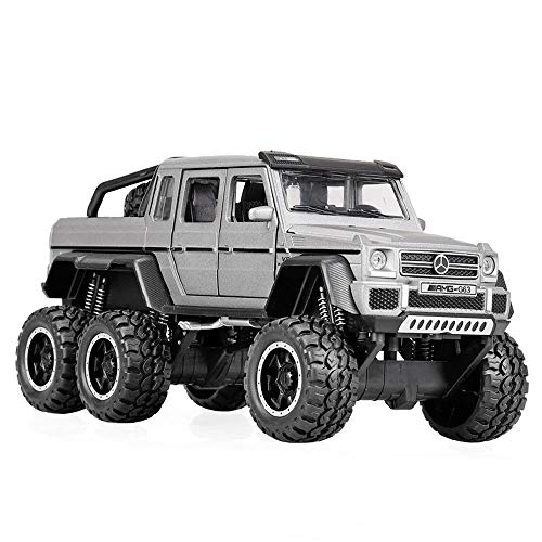 (Bseion Six-Wheeled Off-Road Vehicle 1:32 Alloy Simulation Car Model Sound and Light Pull Back Car Friction Inertia Toy Car Children's Birthday (Color : Gray ))