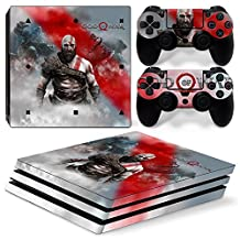 Ps4 PRO Playstation 4 Console Skin Decal Sticker GOW + 2 Controller Skins Set (PRO Only)