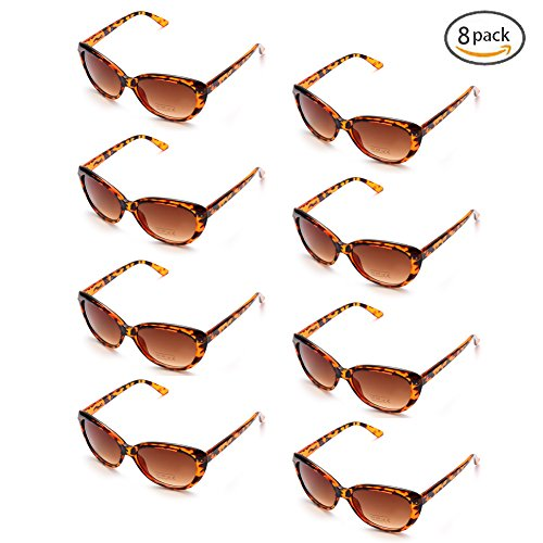 8 Pack Party Favor Supplies Aviator Sunglasses, 100% UV Protection (Leopard, - Sunglasses For Favors Wedding