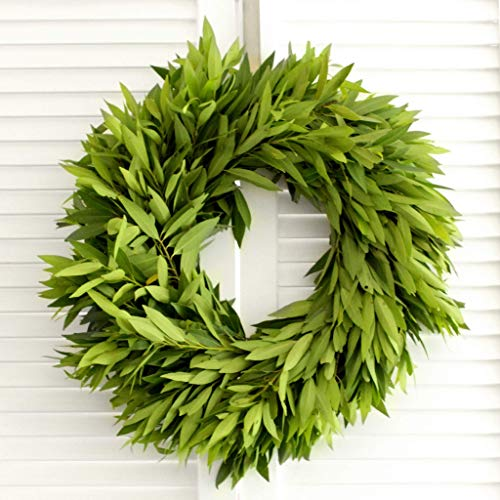 - Fresh Bay Leaf Wreath - 20 inches Free Shipping - Front Door Decor - Church Door Decor for Wedding - Bridal Shower - Baby Shower