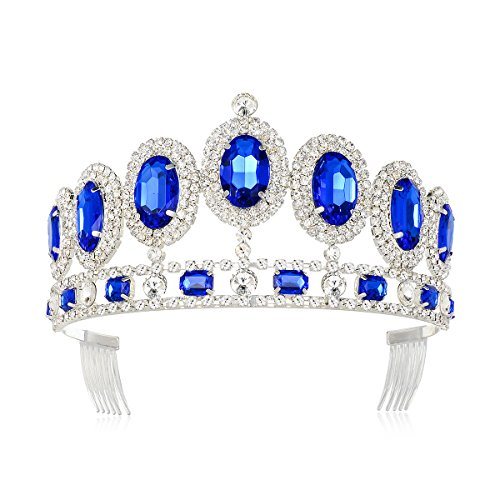 (DcZeRong Princess Tiara Queen Crown Silver Birthday Prom Pageant Women Rhinestone Crystal Crowns)