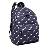 Miss Lulu School Backpacks Canvas Bookbag Cute Printed Leisure Backpack for Teenage Girls (1401H Horse Navy)