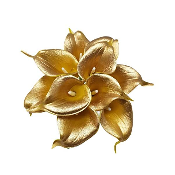 Floral Kingdom USA 14″ Real Touch Latex Calla Lily Bunch Artificial Spring Flowers for Home Decor, Wedding Bouquets, and centerpieces (Pack of 10) (18K Gold)