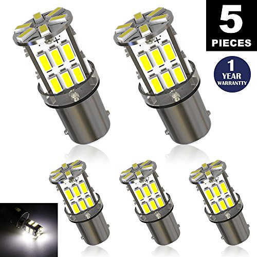 LUYED 5 x Super Bright 3014 30-EX Chipsets BA9 BA9S 53 57 1895 64111 LED Bulbs Used For Side Door Courtesy Lights Map Lights,Xenon White (Led Ba9s)