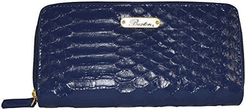 Buxton Cayman Collection Slim Double Zip Bills / Credit Card Holder Womens Clutch /Wallet (Navy)