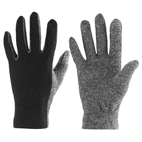 J&J Women Touchscreen Wool Gloves for Cold Weather Daily Commute Driving Walking Running Dog Walking (Black)