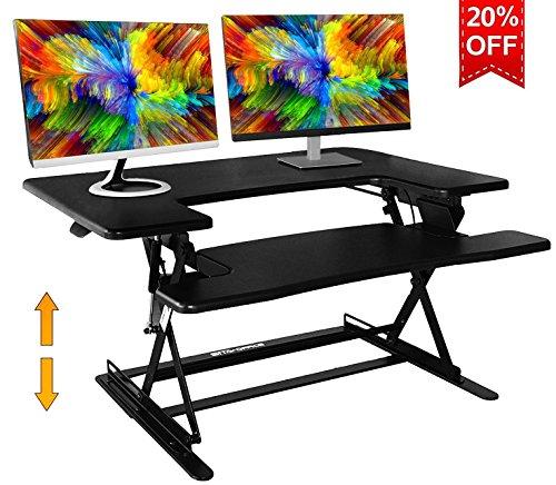 Standing Desk Preassembled Height Adjustable Sit Stand Up Desk Riser Stand Fit Two Monitors Adjustable Standing Desk Converter Topper Black 36'' x 25'' by SITA OFFICE (Black)