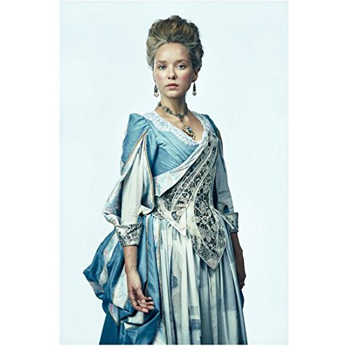 The Musketeers (TV Series 2014 - ) 8 Inch x10 Inch Photograph Alexandra Dowling Blue Dress from Knees Up Light Blue Background kn