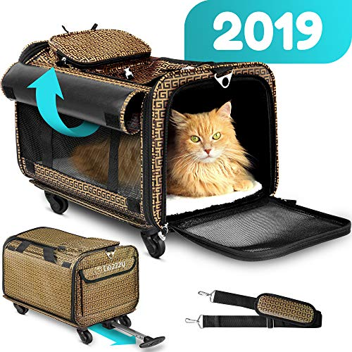 Pet Carrier with Wheels Soft Sided Portable Bag, Click-Out Handle, Breathable Rolling Pet Carrier, Removable Wheels Pet…