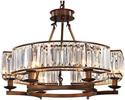 NOXARTE Crystal Chandelier Brown Metal Frame Crystal Raindrop Chandelier Rustic Vintage Round Shape Pendant Light Flush Mount Ceiling Light Lighting Fixture W25.6″ x H19.7″