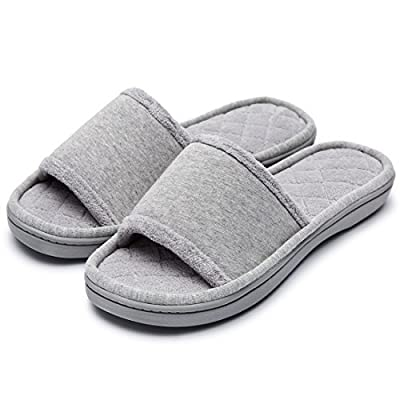 Women's Comfy Memory Foam Plush Fleece Lined Spa House Slippers with Quilted Cotton Upper