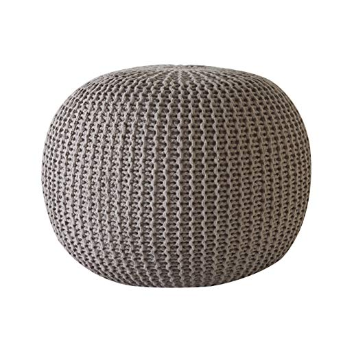 Urban Shop NK640501 Round Knit Pouf, Taupe