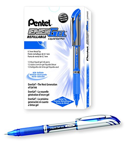 Pentel EnerGel Deluxe Liquid Gel Pen, Medium Line, Metal Tip, Blue Ink, Box of 12 (BL57-C) (Metal Pentel Refillable Pen)