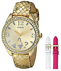 GUESS Women's U0352L3 Iconic Gold-Tone Wardrobe Watch Set with Three Interchangeable Genuine Leather Straps in White, Gold & Pink