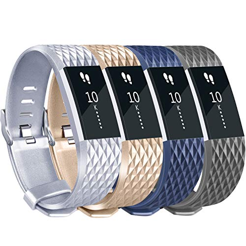 Tobfit Sport Silicone Bands Compatible for Fitbit Charge 2 Classic & Special Edition, 4 Pack, Blue/Champagne/Silver/Grey, Large