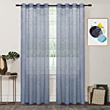 FY FIBER HOUSE Woven Sheer Voile Window Curtains with Grommet Panels for Living Room, 2 Panels,54 by 84-Inch,Blue For Sale